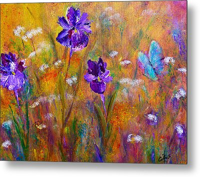 Iris Wildflowers And Butterfly Metal Print by Claire Bull