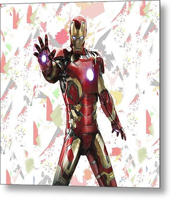 Iron Man Splash Super Hero Series Metal Print