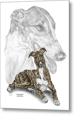 Metal Print featuring the drawing Irresistible - Greyhound Dog Print Color Tinted by Kelli Swan