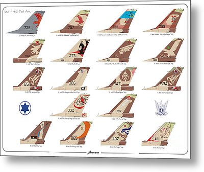 Israeli Air Force F-16's Tail Art Metal Print by Amos Dor