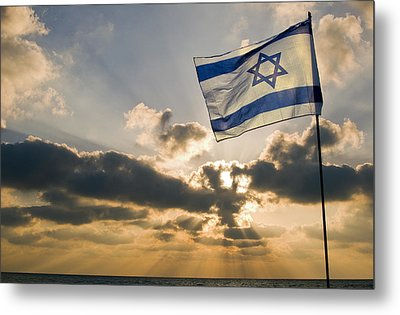 Israeli Flag And Sunset Metal Print by Daniel Blatt