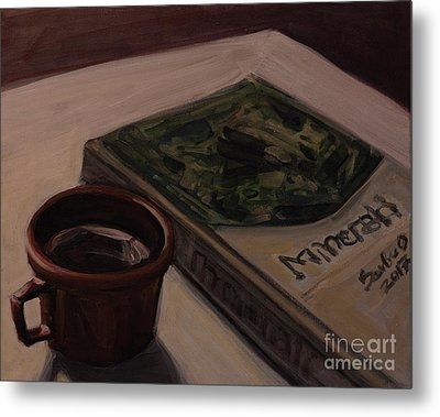Metal Print featuring the painting It Is Coffee Time by Olimpia - Hinamatsuri Barbu