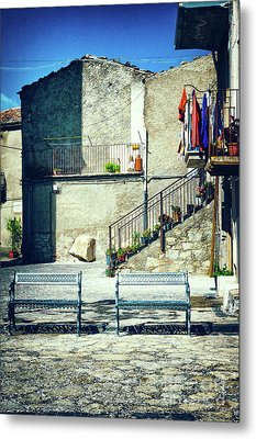 Metal Print featuring the photograph Italian Square With Benches by Silvia Ganora