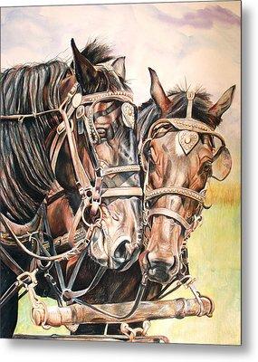 Jack And Joe Hard Workin Horses Metal Print by Toni Grote