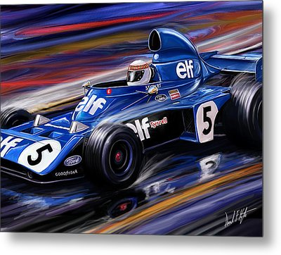 Jackie Stewart In The Rain Metal Print by David Kyte