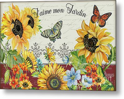 Metal Print featuring the painting Jaime Mon Jardin-jp3990 by Jean Plout