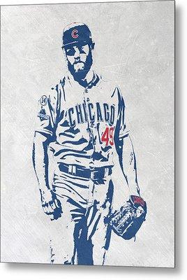 Jake Arrieta Chicago Cubs Pixel Art Metal Print