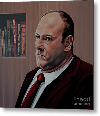 James Gandolfini Painting Metal Print by Paul Meijering