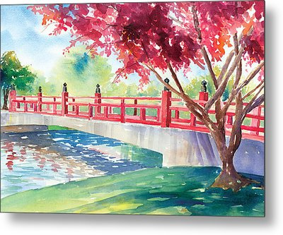 Japanese Bridge Metal Print by Denise Schiber