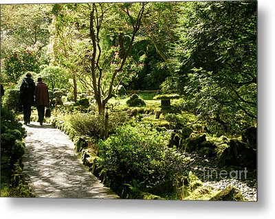 Japanese Garden At Butchart Gardens In Spring Metal Print by Louise Heusinkveld