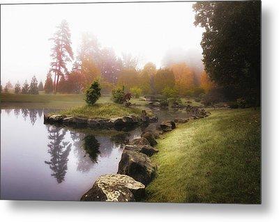 Japanese Garden In Early Autumn Fog Metal Print