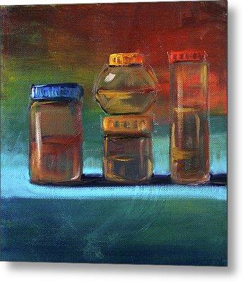 Jars Still Life Painting Metal Print by Nancy Merkle