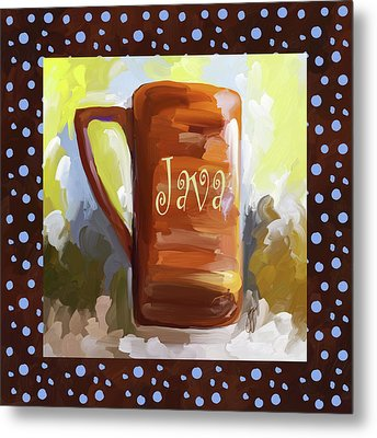 Java Coffee Cup With Blue Dots Metal Print by Jai Johnson