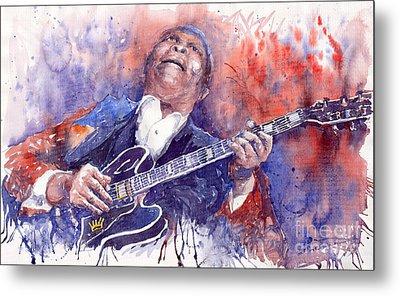 Jazz B B King 05 Red Metal Print by Yuriy  Shevchuk