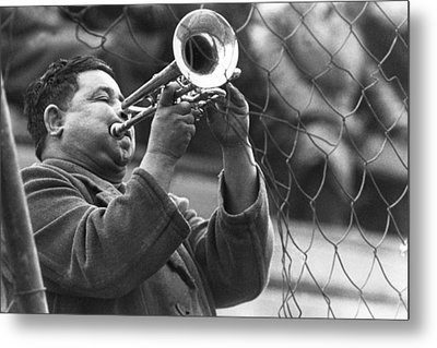 Metal Print featuring the photograph Jazz Behind A Fence by Emanuel Tanjala