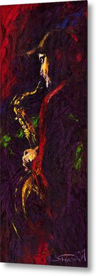 Jazz Red Saxophonist Metal Print