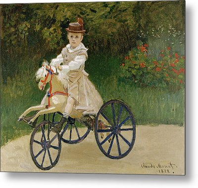 Metal Print featuring the painting Jean Monet On His Hobby Horse           by Claude Monet