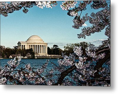 Jefferson Memorial In Spring Metal Print by Christopher Holmes
