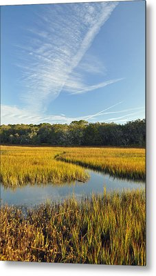 Jekyll Island Marsh High Tide And Sky Metal Print by Bruce Gourley