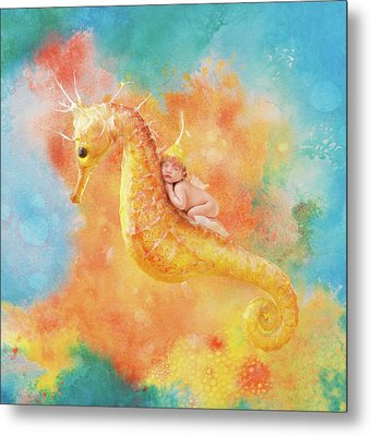 Jessabella Riding A Seahorse Metal Print by Anne Geddes