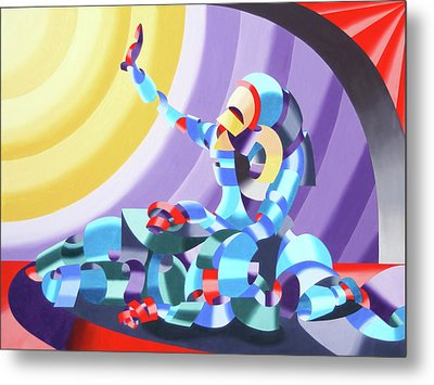 Metal Print featuring the painting Jesse And Shandra - Abstract Figurative Oil Painting By Mark Webster by Mark Webster