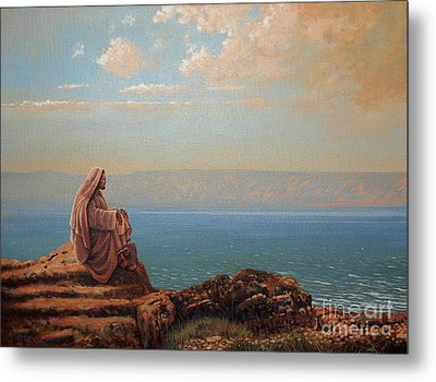 Jesus By The Sea Metal Print by Michael Nowak