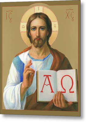 Metal Print featuring the painting Jesus Christ - Alpha And Omega by Svitozar Nenyuk