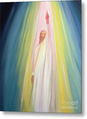 Jesus Christ Points Us To God The Father Metal Print by Elizabeth Wang