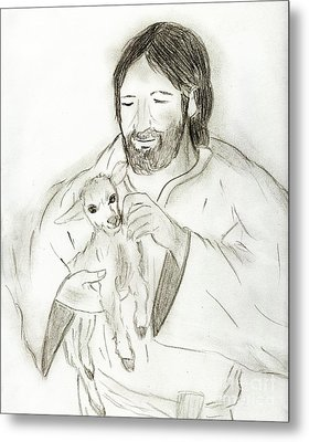 Jesus Holding Lamb Metal Print