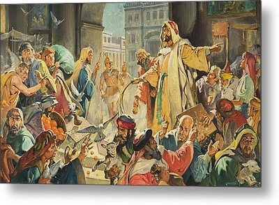 Jesus Removing The Money Lenders From The Temple Metal Print by James Edwin McConnell