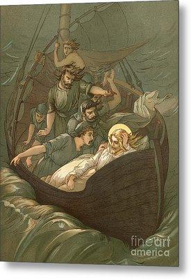 Jesus Sleeping During The Storm Metal Print