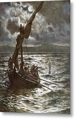 Jesus Walking Upon The Sea Metal Print