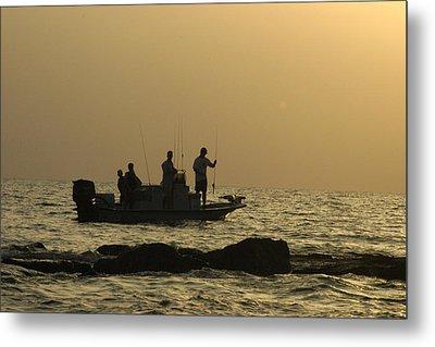 Jetty Fishing In Galveston Bay Metal Print by Robert Anschutz