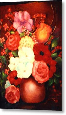 Jewel Flowers Metal Print by Jordana Sands