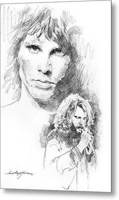 Jim Morrison Faces Metal Print by David Lloyd Glover