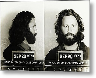 Jim Morrison Mugshot Metal Print by Bill Cannon