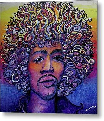Jimi Hendrix Groove Metal Print by David Sockrider