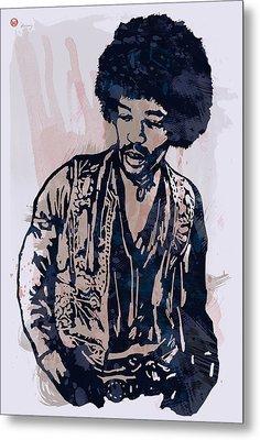 Jimi Hendrix Pop Stylised Art Sketch Poster Metal Print by Kim Wang