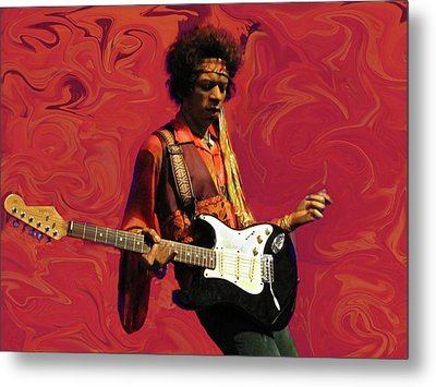 Jimi Hendrix Purple Haze Red Metal Print by David Dehner