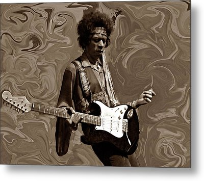 Jimi Hendrix Purple Haze Sepia Metal Print by David Dehner