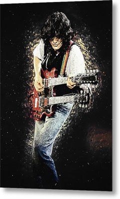 Metal Print featuring the digital art Jimmy Page II by Taylan Apukovska
