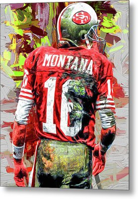 Joe Montana Football Digital Fantasy Painting San Francisco 49ers Metal Print by David Haskett