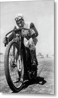 Joe Petrali On His Harley Circa 1937 Metal Print