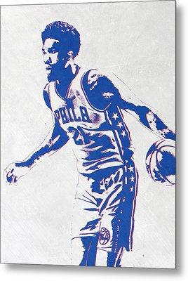 Joel Embiid Philadelphia Sixers Pixel Art Metal Print