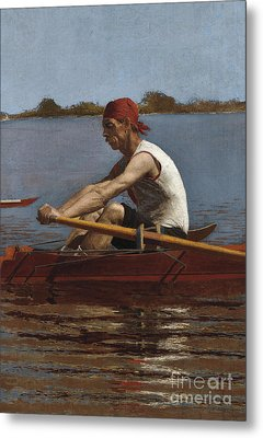 John Biglin In A Single Scull, 1874  Metal Print