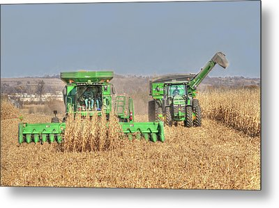 John Deere Combine Picking Corn Followed By Tractor And Grain Cart Metal Print