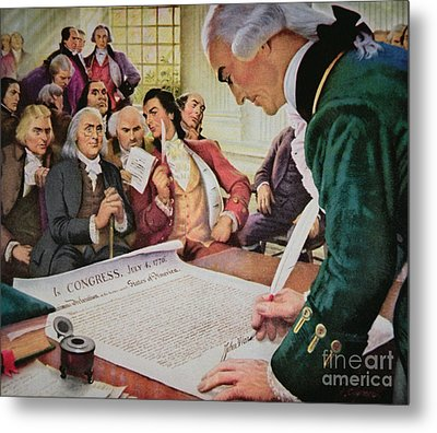 John Hancock Signs The American Declaration Of Independence, 4th July 1776 Metal Print