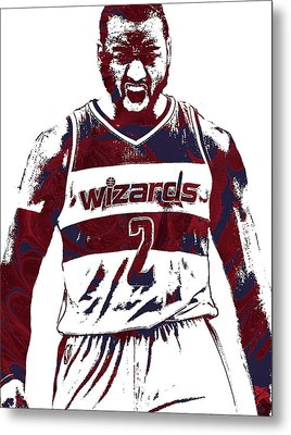 John Wall Washington Wizards Pixel Art 5 Metal Print