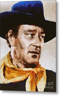 John Wayne, Vintage Hollywood Actor Metal Print by Mary Bassett
