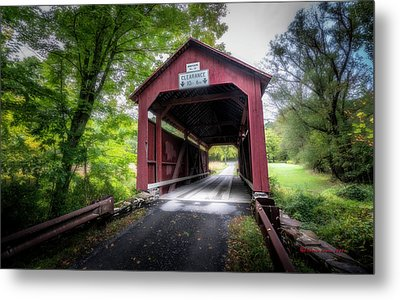 Johnson Covered Bridge Metal Print by Marvin Spates